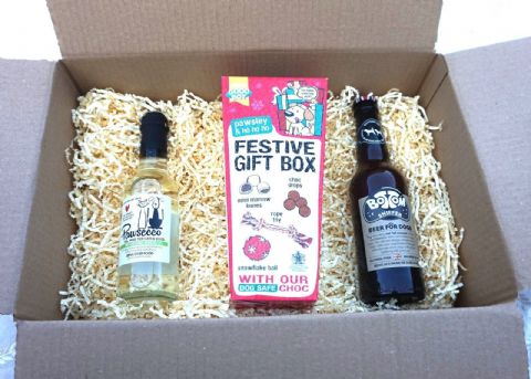 DOG CHRISTMAS GIFT BOX WITH WINE BEER & SELECTION BOX WITH TOYS & TREATS